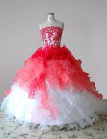La ragazza di fiore lunga bianca e rossa veste gli abiti da festa di compleanno delle ragazze dell'abito di sfera delle organza del pizzo senza bretelle 2020 su misura su ordinazione