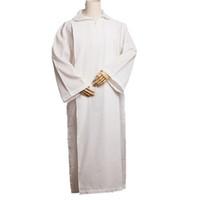 Mannen Religie Kostuum Katholieke Kerk Alb Wit Linnen Plooien Robe Altaar Server Vestments D009 Hoge Kwaliteit