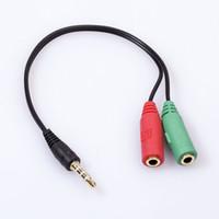 Wholesale-2pcs Märke Guldpläterad ljud stereoplugg 3,5 mm 1 Man till 2 Kvinnlig adapterkabel spliter Mikrofon och hörlurar