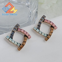 New Fashion Trendy crystal Zinc Alloy earrings green Plant l...