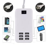 6 포트 USB 데스크탑 다기능 패스트 벽 충전기 5V 6A 30W 휴대용 충전기 AC 전원 어댑터 미국 / EU 플러그