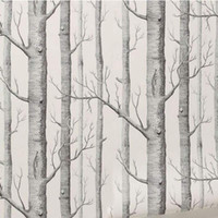 Wholesale- Birch Tree Pattern Non- woven Woods Wallpaper Roll ...