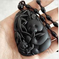 Plus de style Haute Qualité Unique Naturel Naturel Noir panda D'obsidienne Chanceux Amulette Pendentif Collier Pour Femmes Hommes pendentifs Bijoux