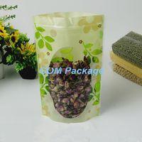 12 * 20 cm Válvula con cierre hermético Cremallera PE Empaque Bolsa Levántese la bolsa de plástico Green Leaf Ziplock Paquete de almacenamiento de alimentos Doypack Bolsa de ventana