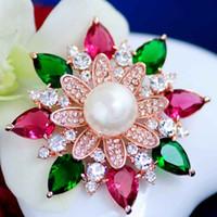 Matrimonio femminile Mu Xia cristallo spilla corpetto maglione pin femminile coreano gioielli fiori fioritura accessori tuta