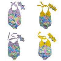 Été 2018 bébé Maillot de bain fille enfants fille sirène Bikini Maillots de bain une pièce avec Bandeau enfants maillot de bain Les filles de natation Beachwear Suit