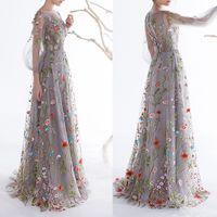 Dobelove Damen Lange Ärmel Prom Kleider 2019 Trendy Blumenstickerei A-Line Abendkleider Formale Party Kleider Pageant Kleid