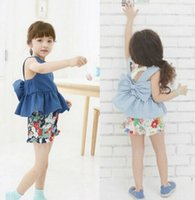 Summer Girls Clothing Sets Fashion Cotton Short Sleeve Butte...