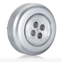 Silver / Blå Hjul Formad Mini 4 LED Nattlampor Batteridriven Blub Trådlös Ljus Vägg Trådlös Touch Stick Lamp