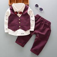 Frühlings-Baby-Jungen-Klagen Blazer Anzüge Kleidung Weste-Hemd-Hosen 3pcs Hochzeit formale Partei Plaid-Baby-Kind-Jungen-Oberbekleidung