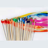 wholesale 20pcs twirling streamers wedding favor ribbon sticks wands with bells
