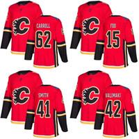 2017 Nova Marca Mens Calgary Chamas 15 Spencer Foo 41 Mike Smith 42 Juusa Valimaki 62 Austin Carroll Vermelho Hóquei No Gelo Jerseys Aceitar Personalizado
