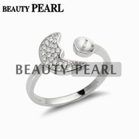 5 Pieces Moon Ring Settings 925 Sterling Silver Blanks Cubic...