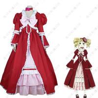 Mordomo preto Kuroshitsuji Elizabeth Midford Liz Red Lolita Vestido Longo Cosplay