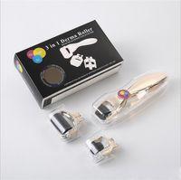 TM-DR005 MOQ 1 Adet 3-in-1 Kit Derma Rulo Vücut ve Yüz ve Göz için Paslanmaz Mikro İğne Rulo 180 600 1200 İğneler Cilt Dermaroller