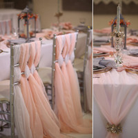 Romantic Wedding Chair Sashes Flowy Chiffon Chiavari Chair S...