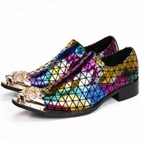 Luxe Metal Toe Couleurs Mixtes Hommes Robe Chaussures Talons Chunky Zapatillas Hombre Slip On Sapato Chaussure Homme
