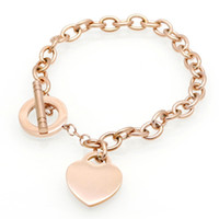 Fashion 3colors Heart Stainless Steel Chain Bracelet Titaniu...