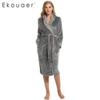 Damen Nachtwäsche Großhandel - Ekouaer Warme Roben für Frauen 2021 Winter Sexy Robe Bademantel Nachthemd Rosa und grau Prinzessin M XL