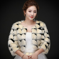 Real photos Sexy Moden Faux Fur Wedding Jacket Warm Bridal B...
