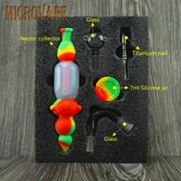 14 mm colectores de néctar de silicona kits colector de 14 mm punta de titanio de acero inoxidable Dabber herramientas de mano aceite de silicio NC titanio clavos