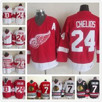 Cheap Detroit Red Wings  24 Chris Chelios Hockey Jerseys Red White Vintage  Classic Cheap Mens Chicago Blackhawks 7 Chris Chelios Jersey a1f1c1800