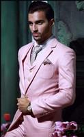 도매 - 정의 잘 생긴 원 버튼 핑크 신랑 턱시도 노치 옷깃 베스트 맨 Groomsman 남자 웨딩 정장 (재킷 + 바지 + 조끼 + 넥타이)