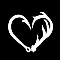 Car Stying Cool Graphics Antler Hook Heart Decal Hunting Fis...