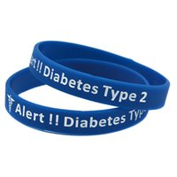 1 pc diabetes tipo 2 pulseira de borracha de silicone transportar esta mensagem como um lembrete na vida diária