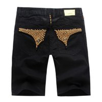 New Summer Style Mens Shorts Jeans for Men Bead Black Jeans ...