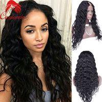 """Полный кружева перуанские девственные человеческие волосы тела волна U часть парики для черных женщин природных волосяного покрова средней части 2""""x4"""" парик Upart без клея"""