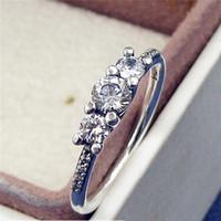 Wysokiej jakości 100% 925 Sterling Silver Fairytale Blask Pierścionek z jasnym CZ European Pandora Style biżuteria urok