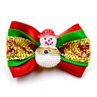 نمط 100pcs التي / مجموعة اليدوية كلب عيد الميلاد الشعر الانحناء عيد الميلاد لطيف اكسسوارات للشعر لوازم الكلاب الاستمالة
