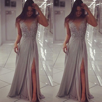 2017 New Grey Beaded Evening Party Prom Dresses Sheer Neck S...