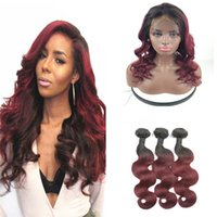 Two Tone 1B 99J Burgundy Dark Root Ombre Body Wave Virgin Hu...