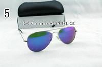 1 adet Sıcak Satmak Erkek Kadın Tasarımcı Pilot Güneş Gözlüğü Güneş Gözlükleri Gümüş Flaş Mavi Ayna Cam Lensler 58mm 62mm UV Koruma Kutusu Kılıfları