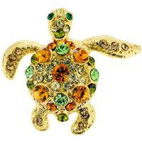 도매 새로운 합금 라인 석 골든 여러 가지 빛깔의 크리스탈 바다 거북 옷깃 핀, 여러 가지 빛깔의 바다 거북 크리스탈 핀 브로치와 펜던트
