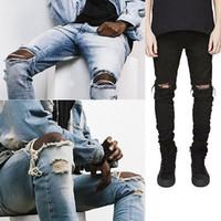 Vente en gros- Mode Hommes Droit Slim Pantalon Denim Jean Pants déchiré Pantalon maigre Nouveaux vêtements pour hommes
