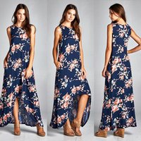 Mulheres Casual Asymmetrical Irregular Floral Impresso sem mangas Jumper Pinafore Summer Beach Loose Boho Maxi Dress Vestidos longos Sundress