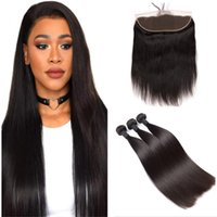 Mink Brazilian Virgin Hair With Lace Frontal Closure Brazilian Straight Hair With Closure Ear To 13x4 Ear Lace Frontal Closure With Bundles