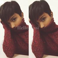 Короткие парики Rihanna Pixie Cut короткие волосы стиль стрижки Бразильский Человека Короткий Парик Боб С Ребенком Волосы Парик Фронта Шнурка Для Чернокожих Женщин