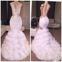 African White Mermaid Prom Dresses 2017 Sexy Lace Beaded Deep V-neck Criss-cross Backless Ruffles Train Evening Formal Vestidos de celebridade