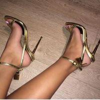 2017 summer lockkey sandalias de gladiador shinny leather lock zapatos de tacón alto correa de tobillo zapatos open toe celebrity shoes party sandalia de oro