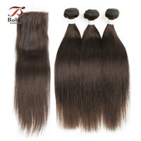 3 Bundles with Lace Closure Dark Brown Color 4 Peruvian Stra...