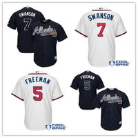Hommes Atlanta Braves # 5 Freddie Freeman # 7 Dansby Swanson Maillots de baseball Majestic Alternate Stitched Cool Base Player Jersey