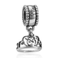 Partihandel 20st / Lot Mode Princess Crown Silver Plated Alloy Metal Dangle Diy Charms Fit European Armband Halsband Lågt pris