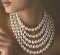 Vente chaude long collier de perles Akoya blanc 100-10 9-10mm fermoir en or 14K