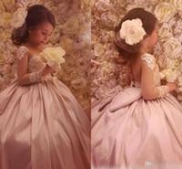 Прекрасные Дешевые Платья Цветочницы Прозрачное Бальное Платье с Шейной Атласной Девочкой Празднование Дня Рождения Вечерние Платья