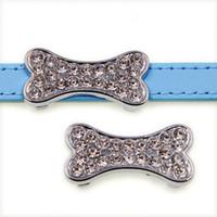 Toptan yapay elmas köpek kemiği çinko alaşımı 10mm kaydırıcı Charms DIY Aksesuarları Fit 10mm Pet Yaka bilekliği SL508