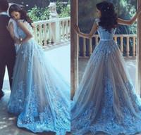 Sky Bleu Fleur 3D Femmes arabes Femmes de bal avec taille Sash Formel 2017 Robe de soirée Dress Long Tulle Col Vestido de Festa